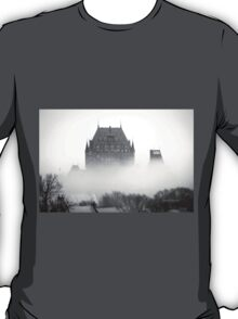A Foggy Morning engulfs Chateau Frontenac Black and White T-Shirt