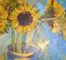 Sunflowers in Vase by Tracy Manning