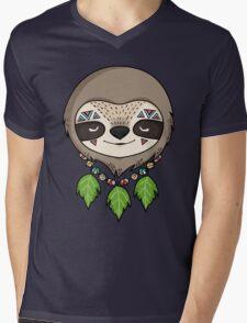 Sloth Head Mens V-Neck T-Shirt