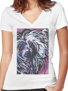 Chinese Crested Dog Bright colorful pop dog art Women's Fitted V-Neck T-Shirt