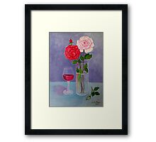 Study of a still life with roses Framed Print