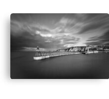 Whitby Port Pier, Black and White Canvas Print