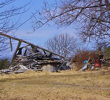 Collapsed barn by quiltmaker