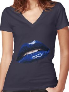 Blue Layered Graphic Lips Women's Fitted V-Neck T-Shirt