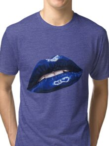 Blue Layered Graphic Lips Tri-blend T-Shirt