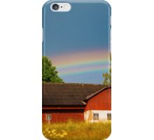 Rainbow over a Red Barn iPhone Case/Skin