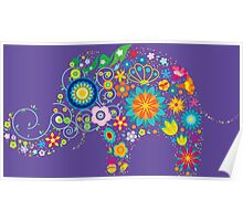 Elephant colorful Flowers Poster