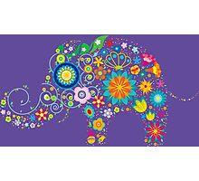 Elephant colorful Flowers Photographic Print