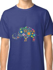 Elephant colorful Flowers Classic T-Shirt