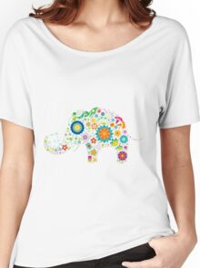 Elephant colorful Flowers Women's Relaxed Fit T-Shirt
