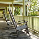 Pair of old rockers on the porch at Meadowcroft by Michael Brewer