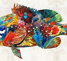 Colorful Grouper Art Fish by Sharon Cummings by Sharon Cummings