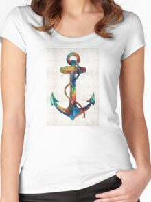 Nautical Anchor Art - Anchors Aweigh - By Sharon Cummings  Women's Fitted Scoop T-Shirt