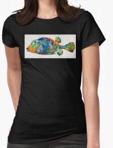 Puffer Fish Art - Puff Love - By Sharon Cummings Womens Fitted T-Shirt