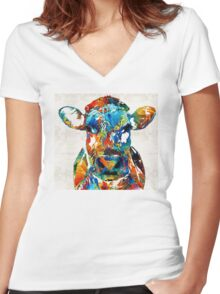 Colorful Cow Art - Mootown - By Sharon Cummings Women's Fitted V-Neck T-Shirt
