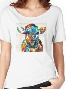 Colorful Cow Art - Mootown - By Sharon Cummings Women's Relaxed Fit T-Shirt