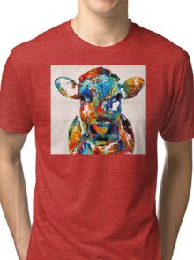 Colorful Cow Art - Mootown - By Sharon Cummings Tri-blend T-Shirt