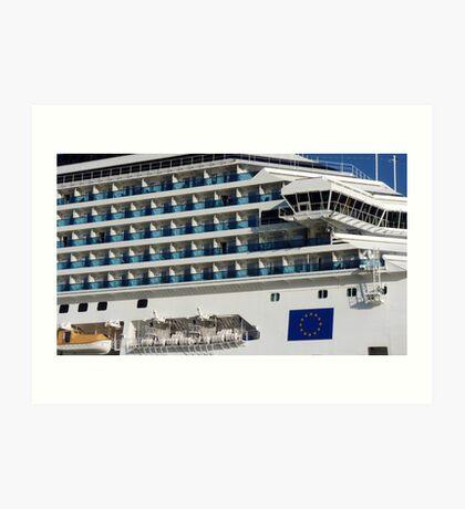 Cruise Liner, Port of Barcelona Art Print