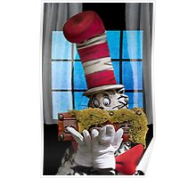 Cat In The Hat With His Moss-Covered Three-Handled Family Credenza Poster