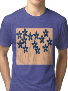 Flowers in orange and blue Tri-blend T-Shirt