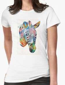 Colorful Zebra Face By Sharon Cummings Womens Fitted T-Shirt