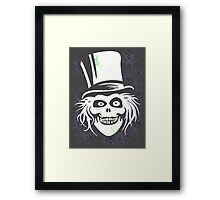 HATBOX GHOST WITH GRUNGY HAUNTED MANSION WALLPAPER Framed Print