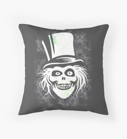 HATBOX GHOST WITH GRUNGY HAUNTED MANSION WALLPAPER Throw Pillow