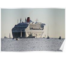 Queen Mary 2,leaving Adelaide,March,2010. Poster