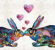 Bunny Rabbit Art - Hopped Up On Love - By Sharon Cummings by Sharon Cummings