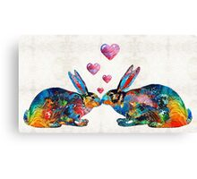 Bunny Rabbit Art - Hopped Up On Love - By Sharon Cummings Canvas Print