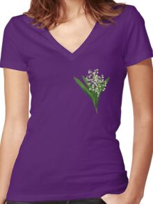 Wood lily flower print Women's Fitted V-Neck T-Shirt