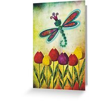 Dragonfly & Tulips Greeting Card