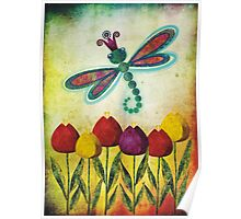 Dragonfly & Tulips Poster