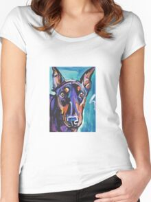 Doberman pinscher Dog Bright colorful pop dog artd Women's Fitted Scoop T-Shirt