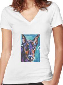 Doberman pinscher Dog Bright colorful pop dog artd Women's Fitted V-Neck T-Shirt