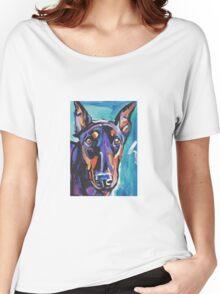 Doberman pinscher Dog Bright colorful pop dog artd Women's Relaxed Fit T-Shirt