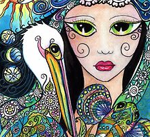 Gypsy Art, Mermaid & Her Tattooed Pelican by Sheridon Rayment by BlueMoonOwl