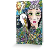Gypsy Art, Mermaid & Her Tattooed Pelican by Sheridon Rayment Greeting Card