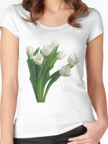 Bunch of white tulips Women's Fitted Scoop T-Shirt