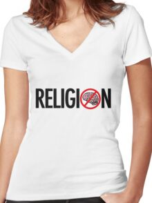 No Brains in Religion Women's Fitted V-Neck T-Shirt