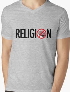 No Brains in Religion Mens V-Neck T-Shirt