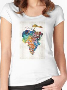 Colorful Grapes Fruit Art by Sharon Cummings Women's Fitted Scoop T-Shirt