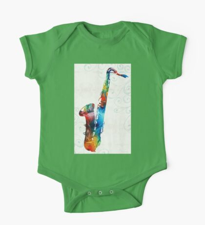 Colorful Saxophone 3 by Sharon Cummings One Piece - Short Sleeve