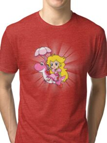 Yoshi and Chibi Peach Tri-blend T-Shirt