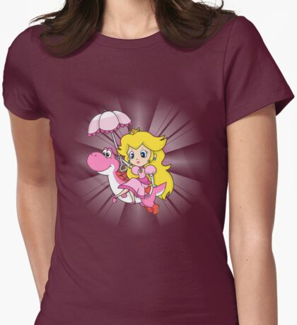 Yoshi and Chibi Peach Womens Fitted T-Shirt