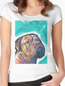 Dogue De Bordeaux Dog Bright colorful pop dog art Women's Fitted Scoop T-Shirt