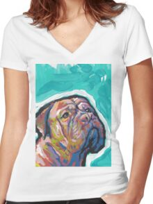 Dogue De Bordeaux Dog Bright colorful pop dog art Women's Fitted V-Neck T-Shirt