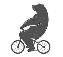 Print Bear on a Bicycle by StockVector