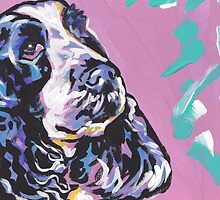 English Cocker Spaniel Dog Bright colorful pop dog art by bentnotbroken11