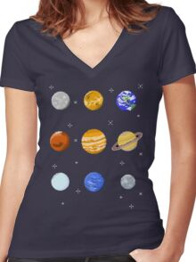 Pixel Planets Women's Fitted V-Neck T-Shirt